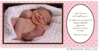 Dot Pink with Brown Photo Card Personalized by Boatman Geller