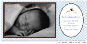 Baby Lamb Blue Photo Card Personalized by Boatman Geller