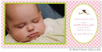 Baby Lamb Pink Photo Card Personalized by Boatman Geller