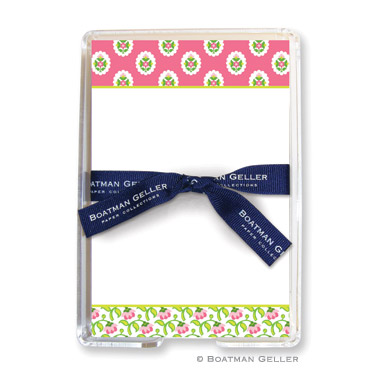 Block Provincial Pink 150 Loose Sheets in Acrylic Holder Personalized by Boatman Geller