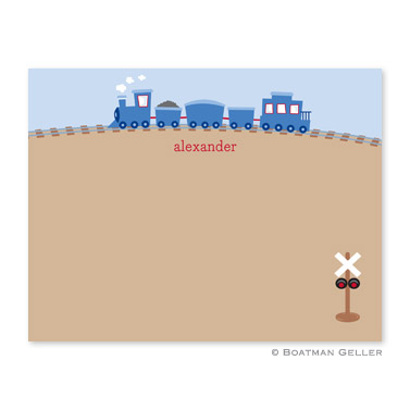 Train Flat Note Card Personalized by Boatman Geller