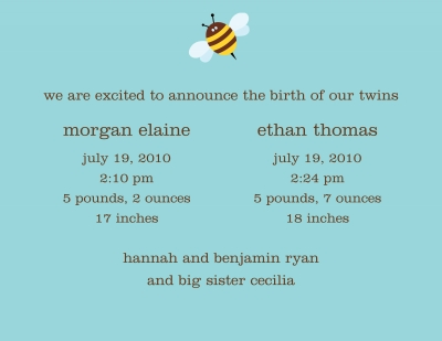 Bumble Bee Invitation or Announcement Personalized by Boatman Geller