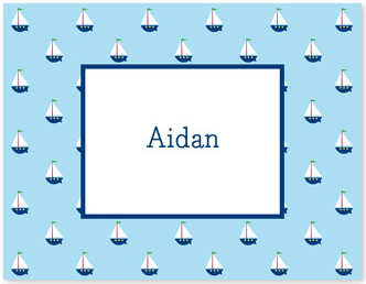 Little Sailboat Flat Note Card Personalized by Boatman Geller
