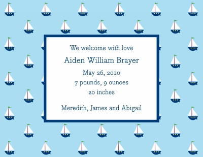 Little Sailboat Invitation or Announcement Personalized by Boatman Geller