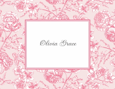 Floral Toile Pink Stationery Personalized by Boatman Geller
