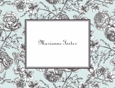 Floral Toile Aqua Stationery Personalized by Boatman Geller