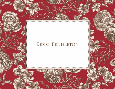 Floral Toile Red Stationery Personalized by Boatman Geller