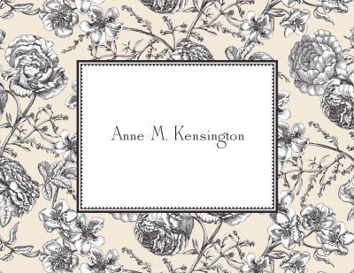 Floral Toile Cream Stationery Personalized by Boatman Geller
