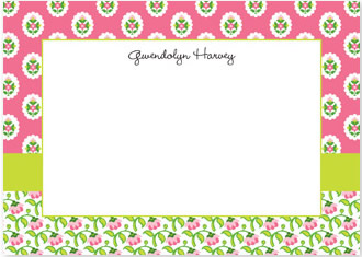 Block Provincial Pink Flat Note Card Personalized by Boatman Geller