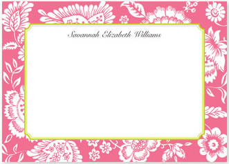 Savannah Pink Flat Note Card Personalized by Boatman Geller