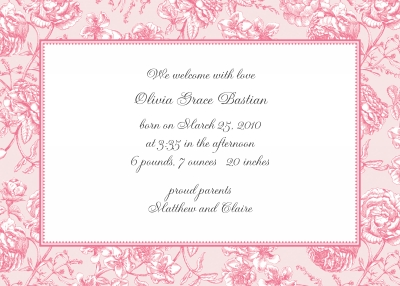 Floral Toile Pink Announcement Personalized by Boatman Geller