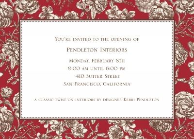 Floral Toile Red Invitation Personalized by Boatman Geller