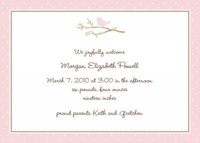 Bird on Branch Pink Announcement Personalized by Boatman Geller