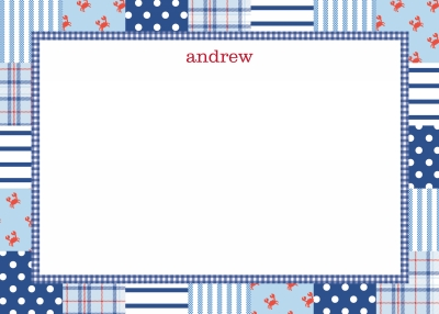 Patchwork Blue Stationery Personalized by Boatman Geller