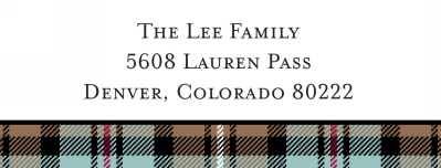 Kelso Plaid Mocha Address Label Personalized by Boatman Geller