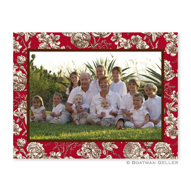 Floral Toile Red Folded Digital Photo Card Personalized by Boatman Geller