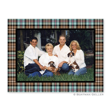 Kelso Plaid Mocha Folded Digital Photo Card Personalized by Boatman Geller