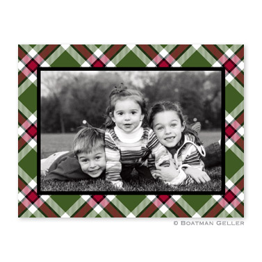 Ashley Plaid Moss Folded Digital Photo Card Personalized by Boatman Geller