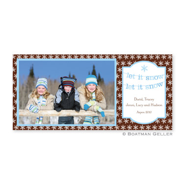 Banner Let it Snow Long Flat Digital Photo Card Personalized by Boatman Geller