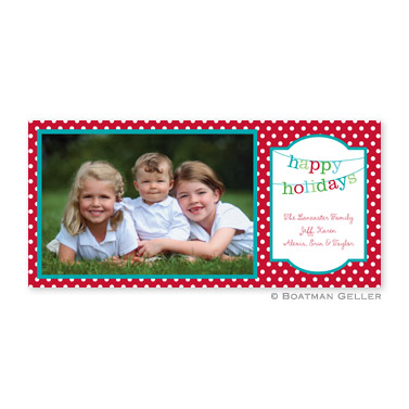 Banner Happy Holidays Long Flat Digital Photo Card Personalized by Boatman Geller