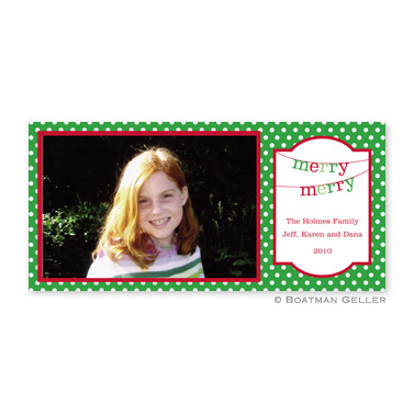 Banner Merry Merry Long Flat Digital Photo Card Personalized by Boatman Geller