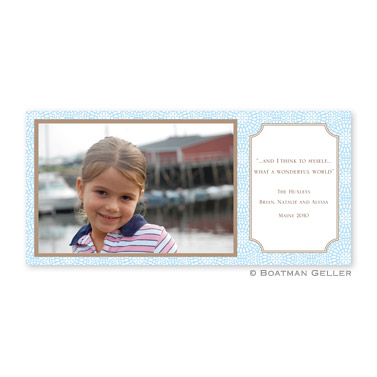 Bursts Blue Long Flat Digital Photo Card Personalized by Boatman Geller