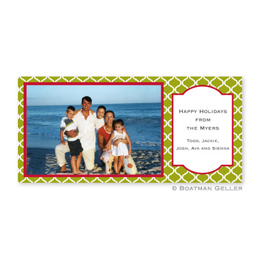 Ann Tile Green Long Flat Digital Photo Card Personalized by Boatman Geller