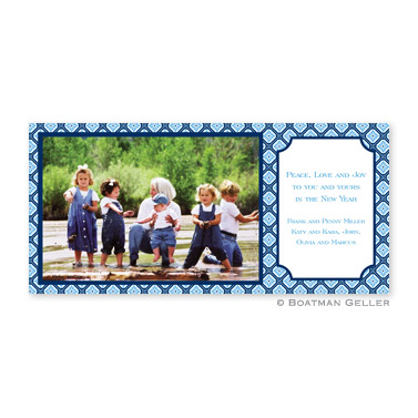 Geo Pattern Navy Long Flat Digital Photo Card Personalized by Boatman Geller