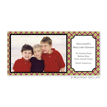 Geo Pattern Red Long Flat Digital Photo Card Personalized by Boatman Geller