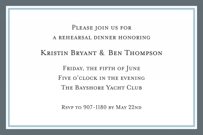Border Charcoal and Light Blue Invitation Personalized by Boatman Geller