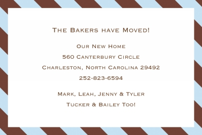 Diagonal Stripe Brown and Blue Announcement Personalized by Boatman Geller
