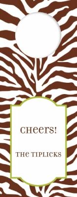 Zebra Wine Tag Personalized by Boatman Geller