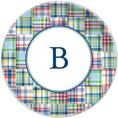 Madras Patch Blue Personalized Plates Personalized by Boatman Geller