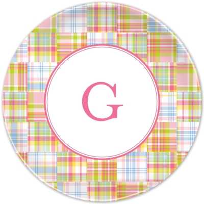 Madras Patch Pink Personalized Plates Personalized by Boatman Geller