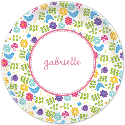 Folk Flowers Pink Personalized Plates Personalized by Boatman Geller