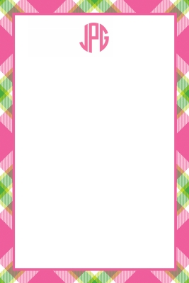 Ashley Plaid Pink Personalized Notepad