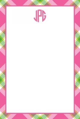 Ashley Plaid Pink Personalized Notepad