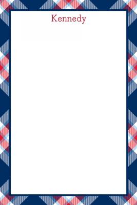 Ashley Plaid Navy Personalized Notepad