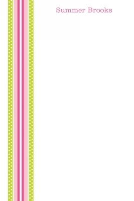 Grosgrain Ribbon Pink & Green Personalized Notepad