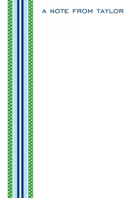 Grosgrain Ribbon Blue & Green Personalized Notepad