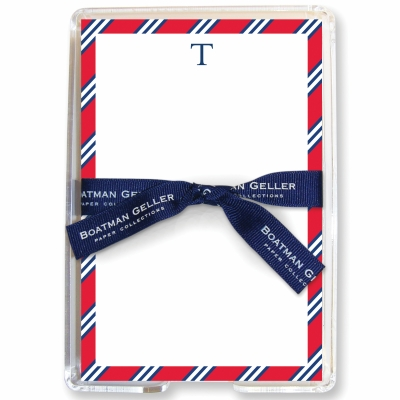 Repp Tie Red & Navy Stationery Personalized by Boatman Geller