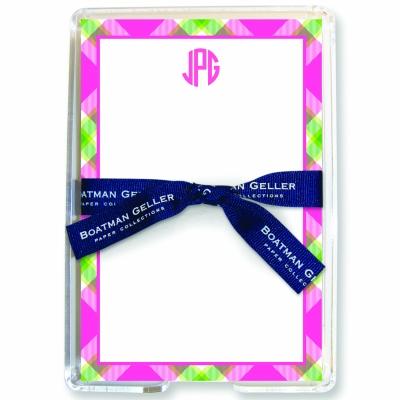 Ashley Plaid Pink Stationery Personalized by Boatman Geller