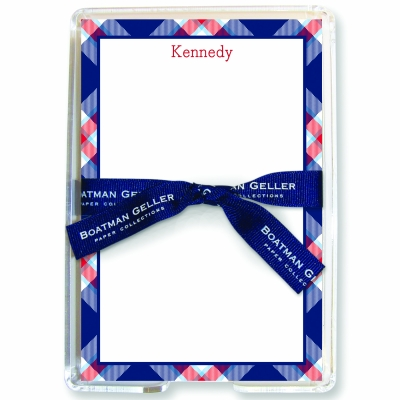 Ashley Plaid Navy Note Sheets Personalized by Boatman Geller
