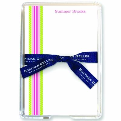 Grosgrain Ribbon Pink & Green Stationery Personalized by Boatman Geller