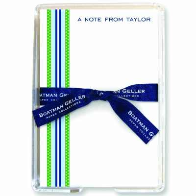 Grosgrain Ribbon Blue & Green Stationery Personalized by Boatman Geller