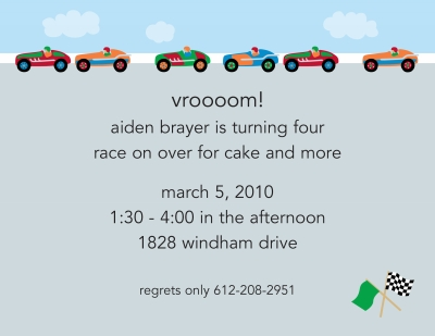 Race Cars Invitation Personalized by Boatman Geller