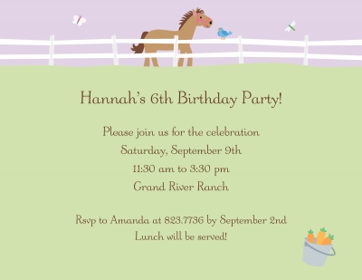 Horse Invitation Personalized by Boatman Geller