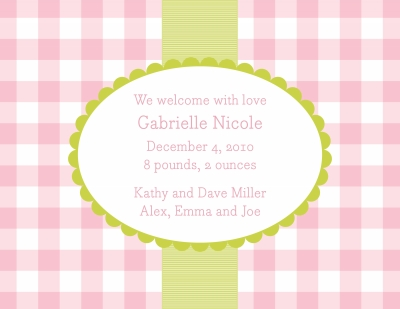 Check Pink Announcement Personalized by Boatman Geller