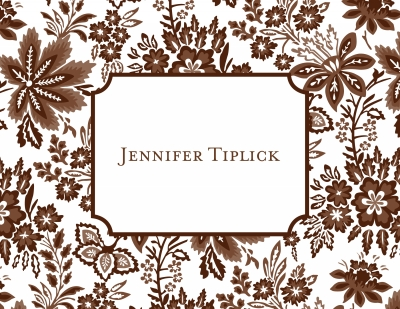 Willow Floral Brown Stationery Personalized by Boatman Geller