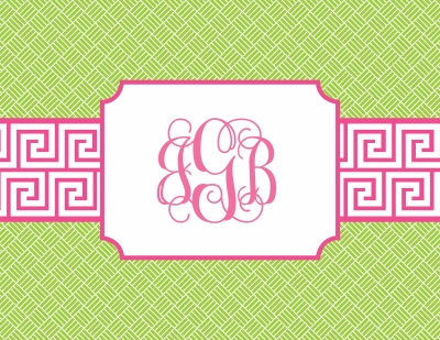 Greek Key Band Pink Stationery Personalized by Boatman Geller